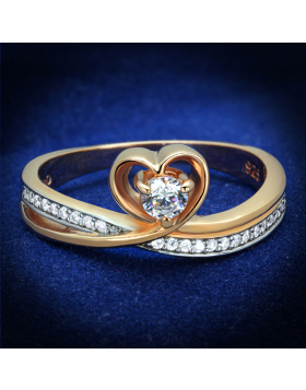 Ring 925 Sterling Silver Rose Gold + Rhodium AAA Grade CZ Clear