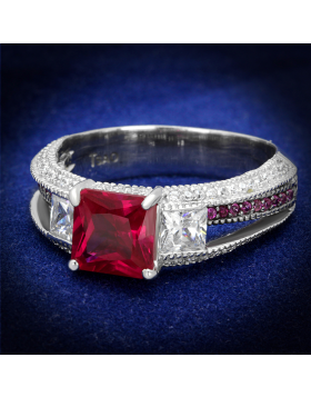 Ring 925 Sterling Silver Rhodium + Ruthenium AAA Grade CZ Ruby