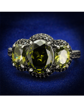 Ring 925 Sterling Silver Ruthenium AAA Grade CZ Olivine color
