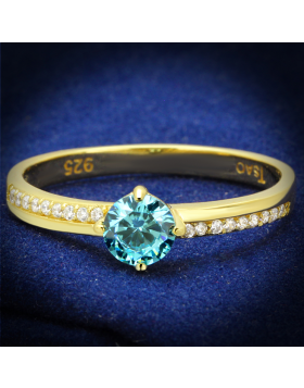 Ring 925 Sterling Silver Gold AAA Grade CZ Sea Blue