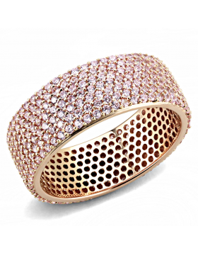 Ring 925 Sterling Silver Rose Gold AAA Grade CZ Light Rose