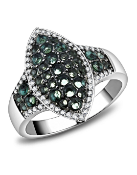 Ring 925 Sterling Silver Rhodium + Ruthenium Synthetic Blue Zircon Synthetic Glass
