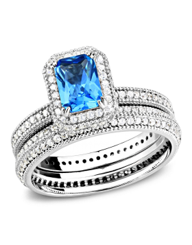 Ring 925 Sterling Silver Rhodium Synthetic Sea Blue Synthetic Glass Oblong