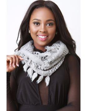 Basketweave Knit Infinity Scarf - Grey