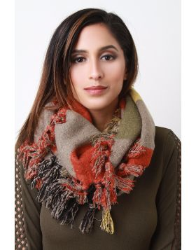 Cozy Freyed Edge Scarf - Orange/Khaki