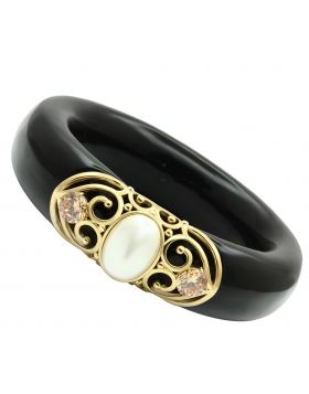 Bangle Brass IP Gold(Ion Plating) Synthetic White Pearl