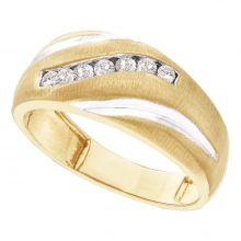 10kt Yellow Gold Unisex Round Diamond Band Ring 1/4 Cttw
