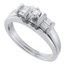 14kt White Gold Womens Round Diamond Bridal Wedding Engagement Ring Band Set 1/4 Cttw