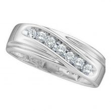 10kt White Gold Unisex Round Channel-set Diamond Single Row Wedding Band Ring 1/4 Cttw