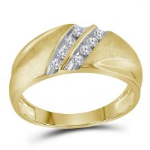 10kt Two-tone Yellow Gold Unisex Round Diamond Band 2-Row Wedding Ring 1/4 Cttw