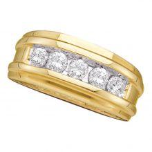 14kt Yellow Gold Unisex Round Diamond Ridged Wedding Band Ring 1/2 Cttw