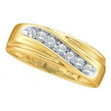14kt Yellow Gold Unisex Round Channel-set Diamond Wedding Anniversary Band Ring 1/4 Cttw
