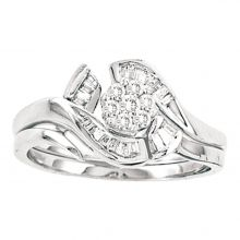 14kt White Gold Womens Round Diamond Cluster Bridal Wedding Engagement Ring Band Set 1/3 Cttw