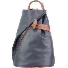 Fiorella leather backpack - Dark Blue/Brown