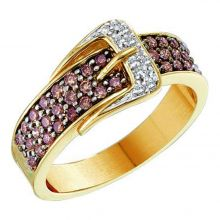14kt Yellow Gold Womens Round Brown Diamond Belt Buckle Band Ring 1/2 Cttw
