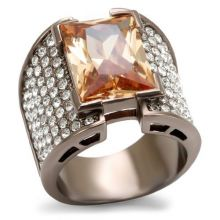 LO1686 - Brass Chocolate Gold Ring AAA Grade CZ Champagne