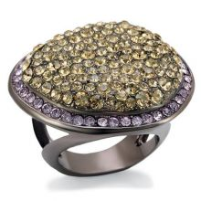 LO1694 - Brass Chocolate Gold Ring Top Grade Crystal Multi Color