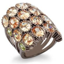 LO1696 - Brass Chocolate Gold Ring AAA Grade CZ Multi Color
