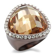 LO1697 - Brass Chocolate Gold Ring AAA Grade CZ Champagne
