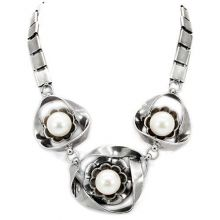 LO1867 - White Metal Antique Silver Necklace Synthetic White