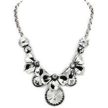 LO1872 - White Metal Antique Silver Necklace Top Grade Crystal Jet