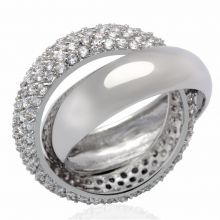 LO2055 - Brass Rhodium Ring AAA Grade CZ Clear