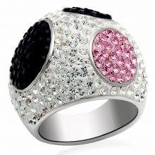 LO2081 - Brass Rhodium + Ruthenium Ring Top Grade Crystal Multi Color