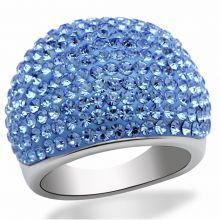 LO2083 - Brass Rhodium Ring Top Grade Crystal Light Sapphire