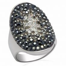 LO2084 - Brass Rhodium Ring Top Grade Crystal Multi Color