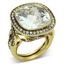 LO2436 - Brass Gold Ring AAA Grade CZ Clear