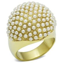 LO2471 - Brass Gold Ring Synthetic White
