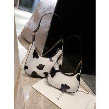 Cow Print Chain Satchel Bag