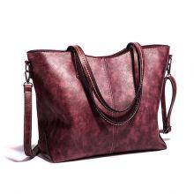 Women Retro Oil Wax Tote Bag Large Capacity Handbag