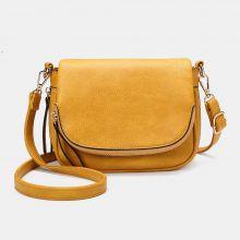 Flap Soft Leather Expandable Bag