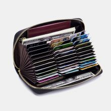 RIFD Multifunctional Genuine Leather Multi-card Slot Phone Bag Money Clip Wallet Purse