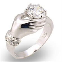 30320 - 925 Sterling Silver High-Polished Ring AAA Grade CZ Clear