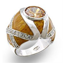 37414 - 925 Sterling Silver High-Polished Ring AAA Grade CZ Champagne