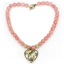 LO4662 - White Metal Antique Copper Necklace Synthetic Light Peach