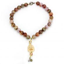 LO4663 - Brass Antique Copper Necklace Semi-Precious Multi Color