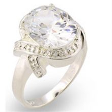 30306 - 925 Sterling Silver High-Polished Ring AAA Grade CZ Clear