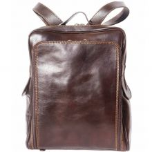 Flat hard leather  backpack - Brown