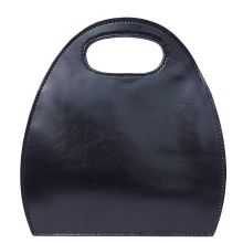 Semi oval bag with built-in handle - Black