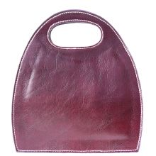 Semi oval bag with built-in handle - Purple