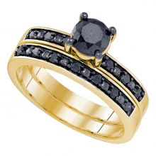 10kt Yellow Gold Womens Round Black Color Enhanced Diamond Bridal Wedding Engagement Ring Band Set 1.00 Cttw