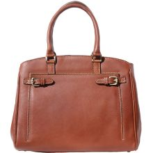 Shoulder tote bag in smooth leather - Brown