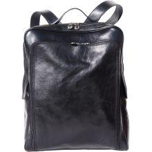 Flat leather  backpack - Black
