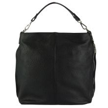The Donata Leather Hobo Bag - Black