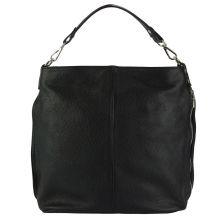 The Donata Leather Hobo Bag - Black