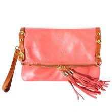 Giorgia GM leather clutch - Coral