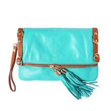 Giorgia GM leather clutch - Turquoise